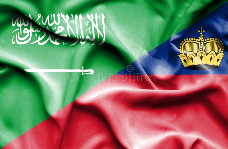 Bandeira de ondulação de Lichtenstein e de Arábia Saudita ilustração do vetor
