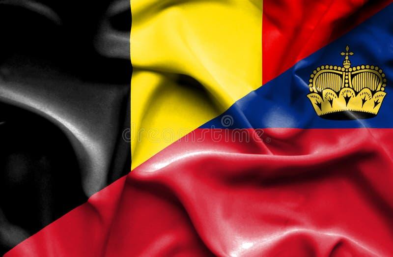 Bandeira de ondulação de Lichtenstein e de Bélgica ilustração stock