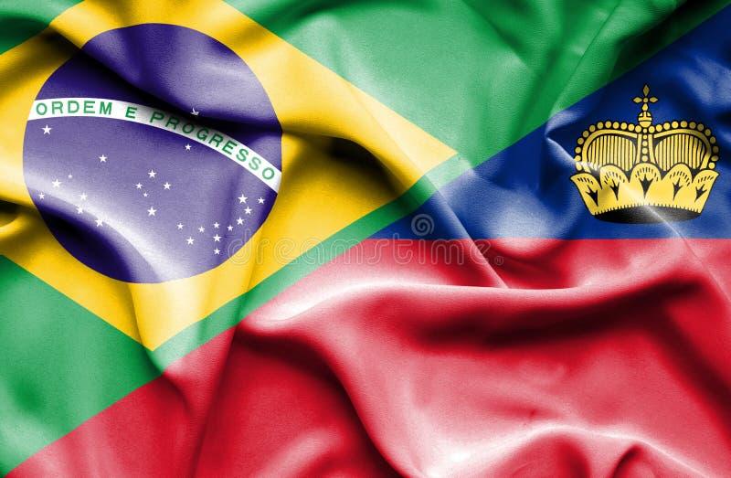 Bandeira de ondulação de Lichtenstein e de Brasil ilustração do vetor