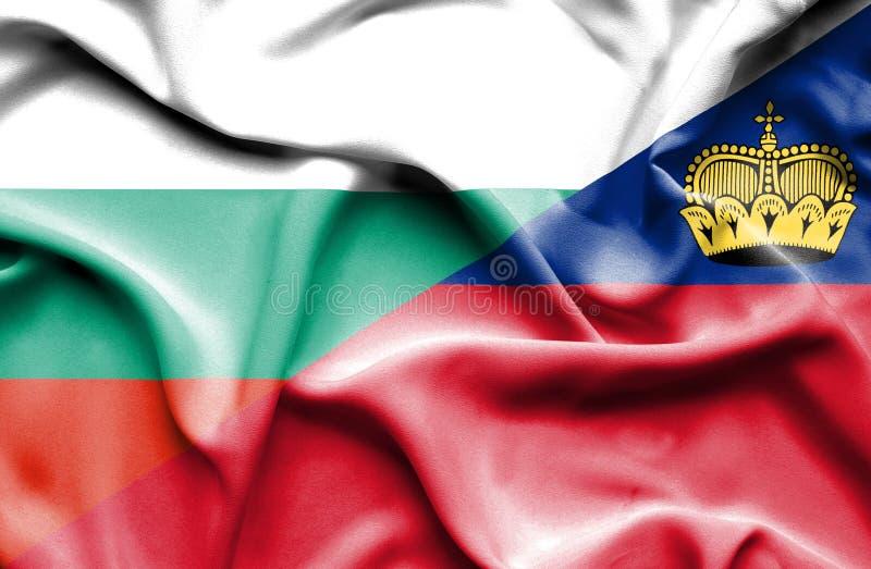 Bandeira de ondulação de Lichtenstein e de Bulgária ilustração royalty free