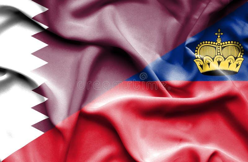 Bandeira de ondulação de Lichtenstein e de Catar ilustração stock