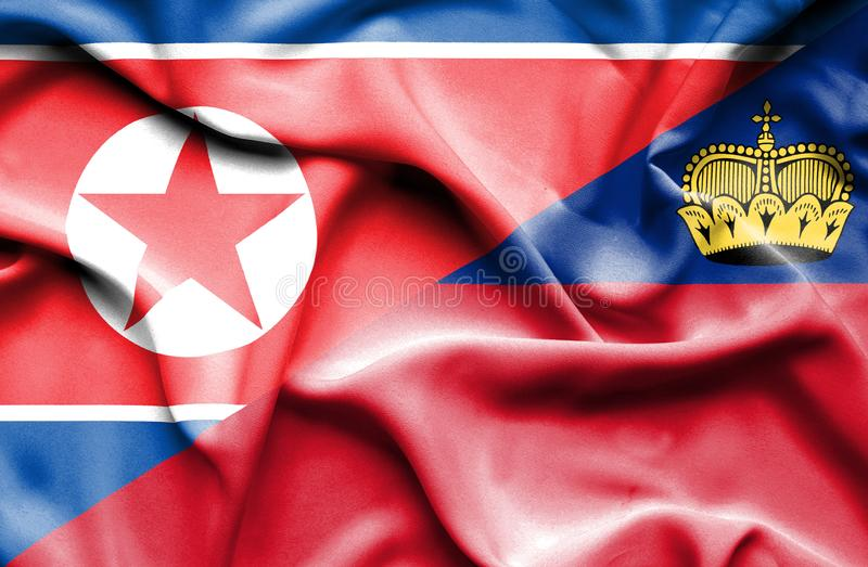 Bandeira de ondulação de Lichtenstein e de Coreia do Norte ilustração royalty free