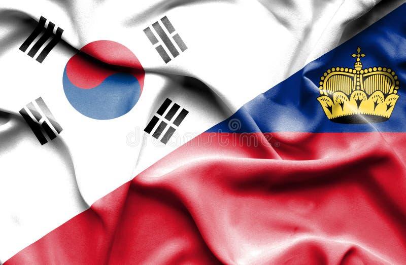 Bandeira de ondulação de Lichtenstein e de Coreia do Sul ilustração royalty free