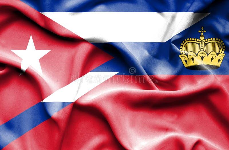 Bandeira de ondulação de Lichtenstein e de Cuba ilustração do vetor