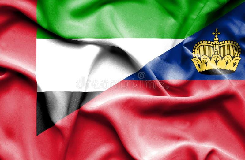 Bandeira de ondulação de Lichtenstein e de Emiratos Árabes Unidos ilustração do vetor