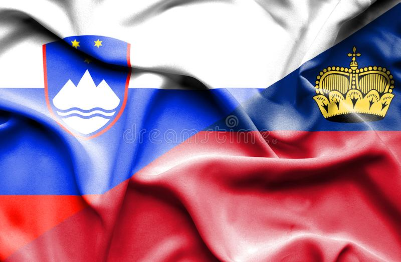 Bandeira de ondulação de Lichtenstein e de Eslovênia ilustração do vetor