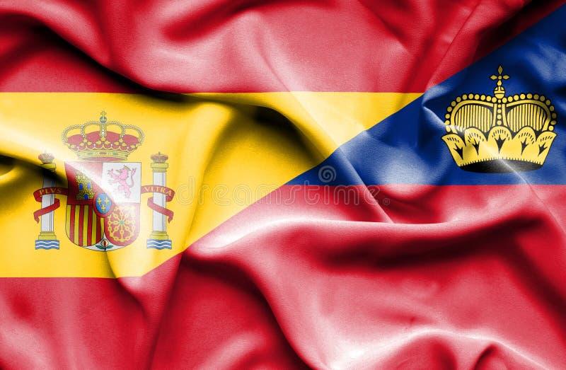Bandeira de ondulação de Lichtenstein e de Espanha ilustração royalty free