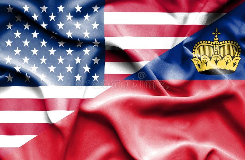 Bandeira de ondulação de Lichtenstein e de EUA ilustração royalty free