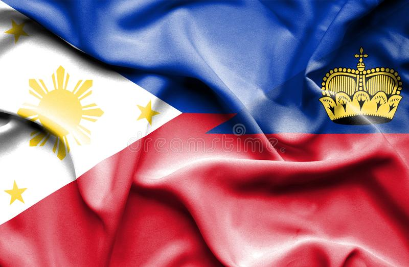Bandeira de ondulação de Lichtenstein e de Filipinas ilustração royalty free