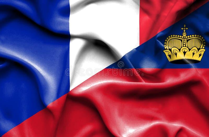 Bandeira de ondulação de Lichtenstein e de França ilustração do vetor