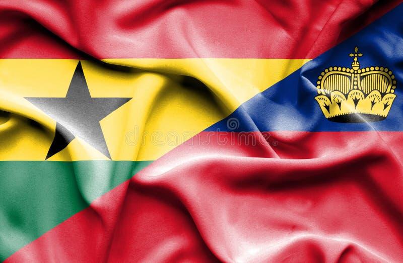 Bandeira de ondulação de Lichtenstein e de Gana ilustração do vetor