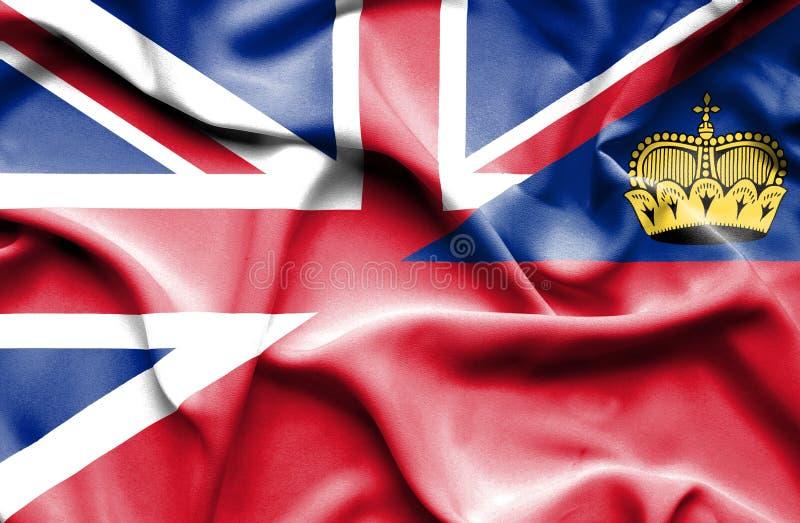 Bandeira de ondulação de Lichtenstein e de Grâ Bretanha ilustração royalty free