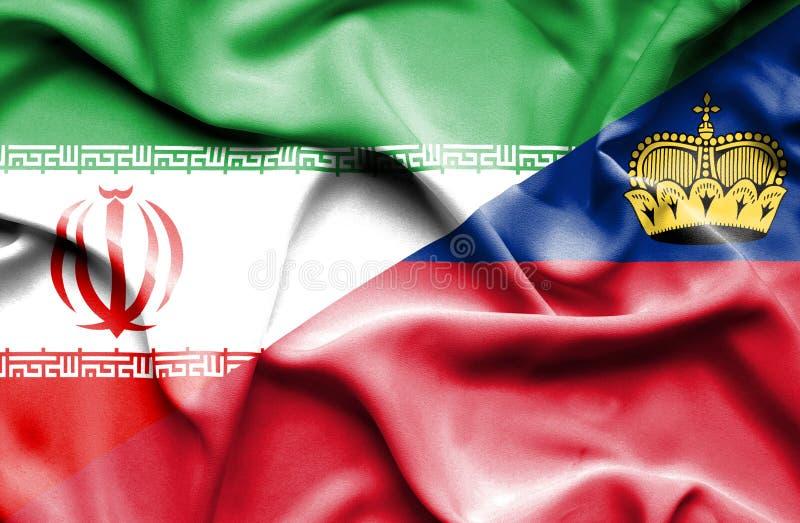 Bandeira de ondulação de Lichtenstein e de Irã ilustração royalty free
