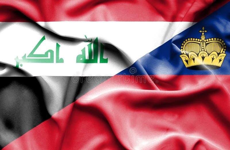 Bandeira de ondulação de Lichtenstein e de Iraque ilustração do vetor