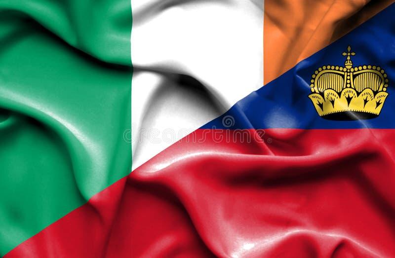 Bandeira de ondulação de Lichtenstein e de Irlanda ilustração do vetor