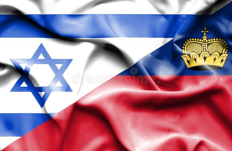 Bandeira de ondulação de Lichtenstein e de Israel ilustração stock