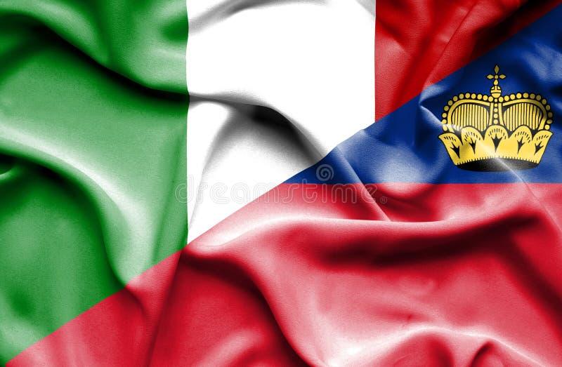 Bandeira de ondulação de Lichtenstein e de Itália ilustração stock