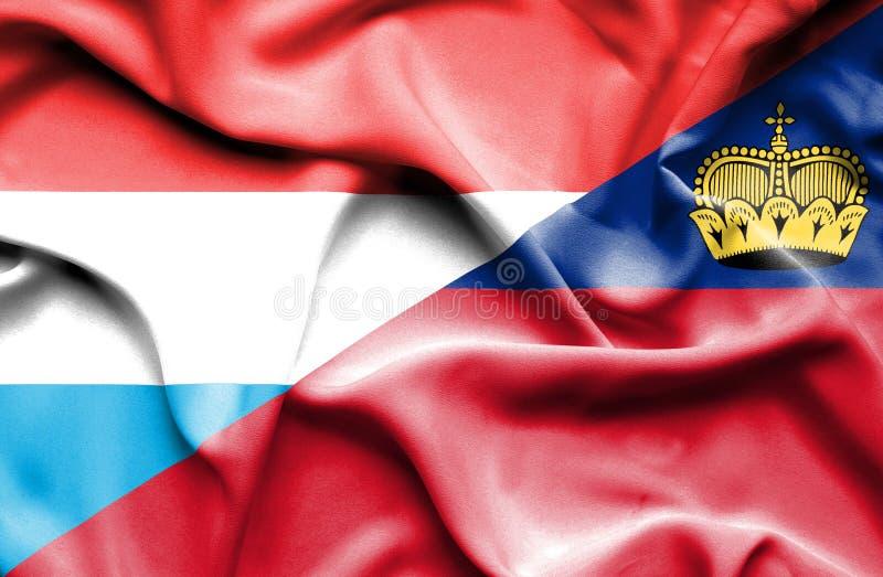 Bandeira de ondulação de Lichtenstein e de Luxemburgo ilustração stock