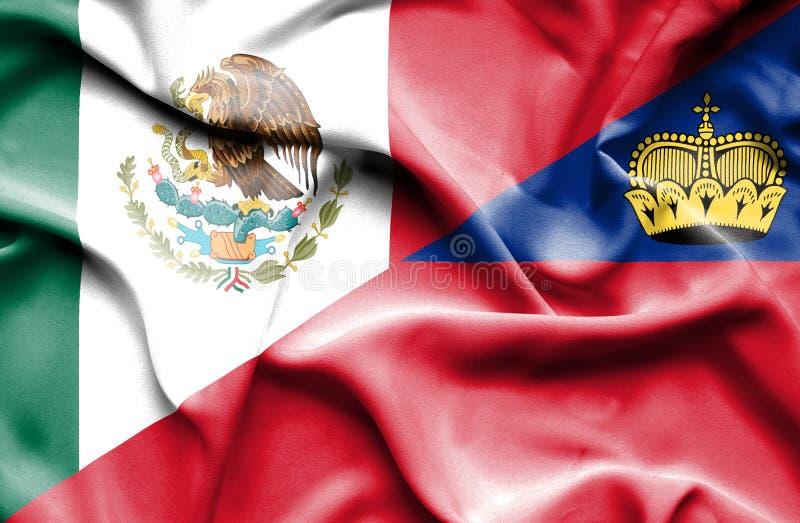 Bandeira de ondulação de Lichtenstein e de México ilustração royalty free