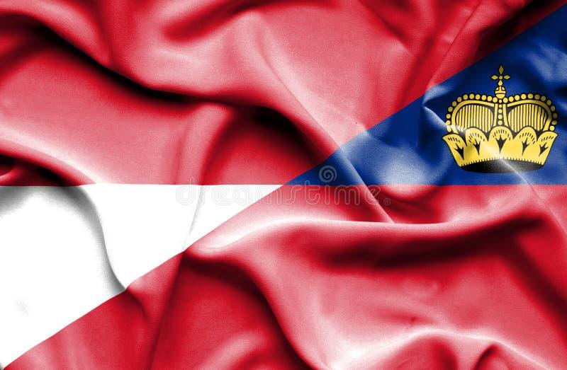 Bandeira de ondulação de Lichtenstein e de Mônaco ilustração stock