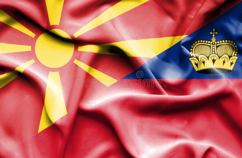 Bandeira de ondulação de Lichtenstein e de Macedônia ilustração do vetor
