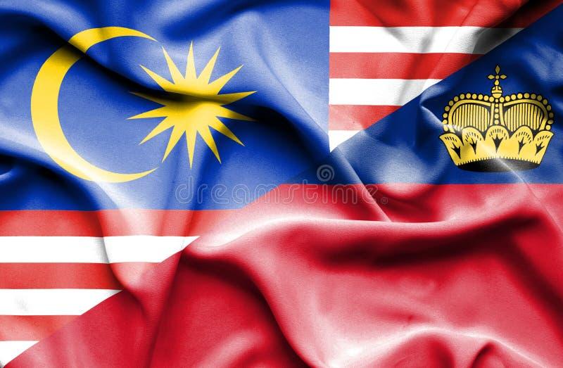 Bandeira de ondulação de Lichtenstein e de Malásia ilustração stock