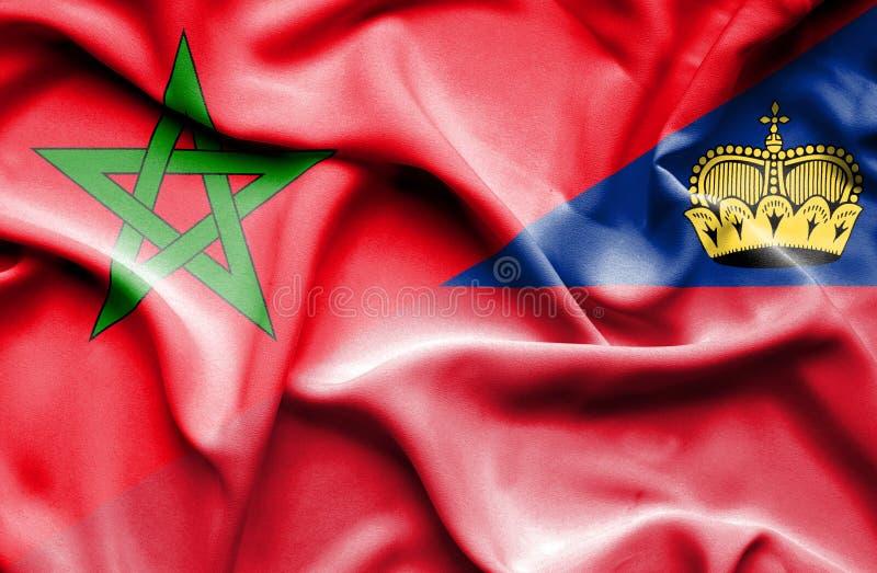 Bandeira de ondulação de Lichtenstein e de Marrocos ilustração royalty free