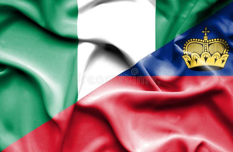 Bandeira de ondulação de Lichtenstein e de Nigéria ilustração royalty free