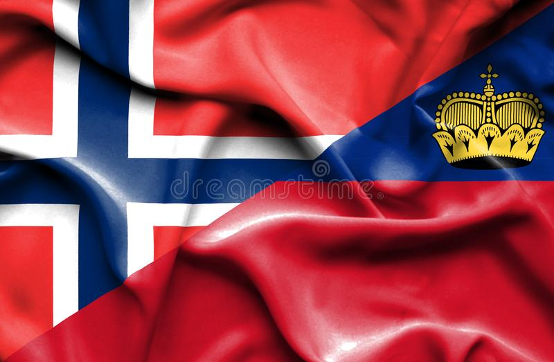 Bandeira de ondulação de Lichtenstein e de Noruega ilustração royalty free