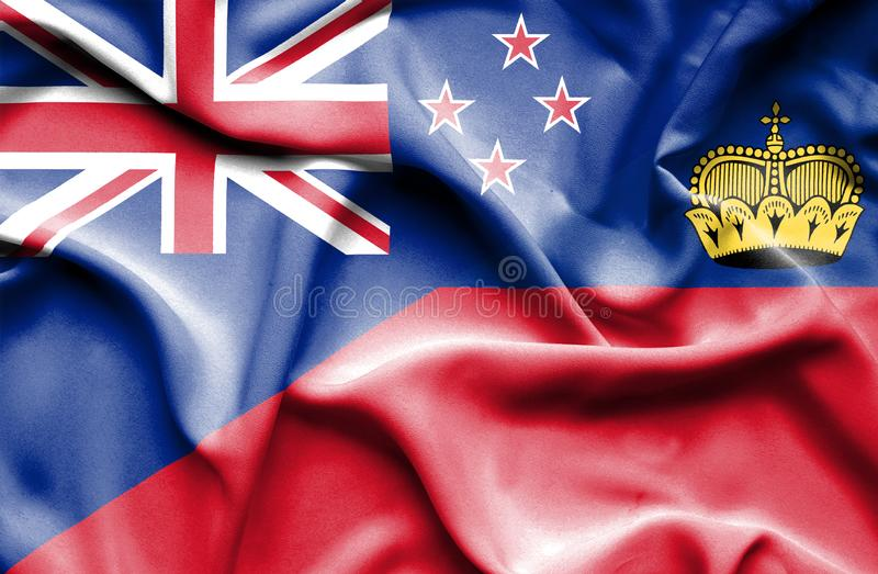 Bandeira de ondulação de Lichtenstein e de Nova Zelândia ilustração stock