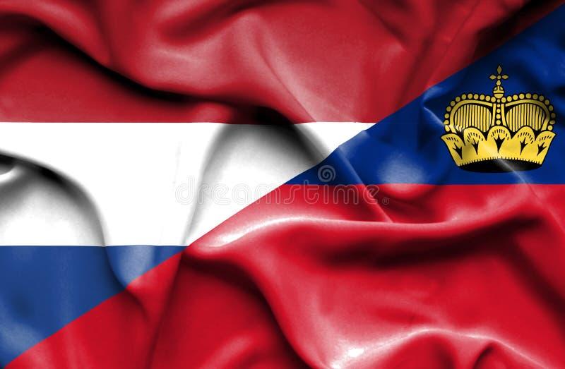 Bandeira de ondulação de Lichtenstein e de Países Baixos ilustração stock