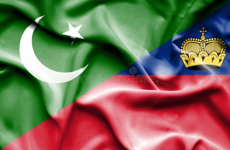 Bandeira de ondulação de Lichtenstein e de Paquistão ilustração stock