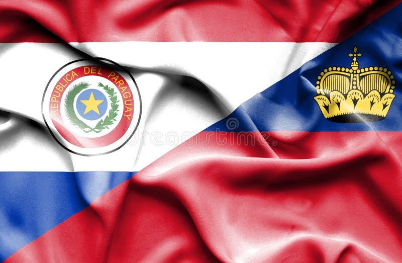 Bandeira de ondulação de Lichtenstein e de Paraguai ilustração royalty free