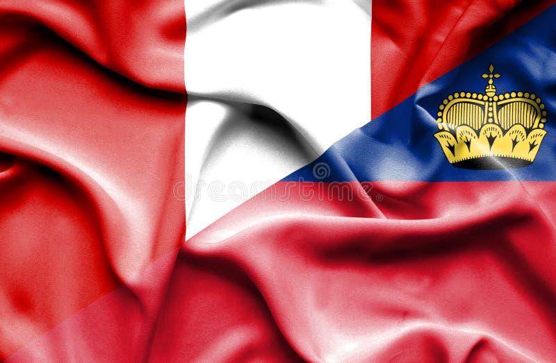 Bandeira de ondulação de Lichtenstein e de Peru ilustração stock