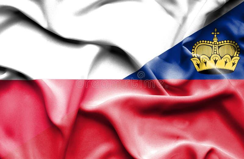 Bandeira de ondulação de Lichtenstein e de Polônia ilustração stock