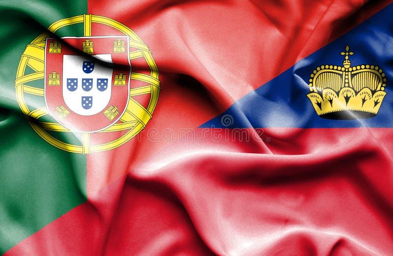 Bandeira de ondulação de Lichtenstein e de Portugal ilustração do vetor