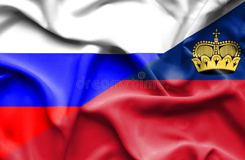 Bandeira de ondulação de Lichtenstein e de Rússia ilustração royalty free