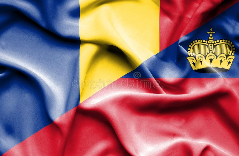 Bandeira de ondulação de Lichtenstein e de Romênia ilustração stock