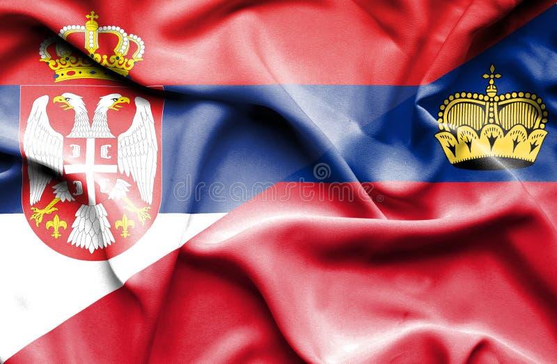 Bandeira de ondulação de Lichtenstein e de Sérvia ilustração royalty free