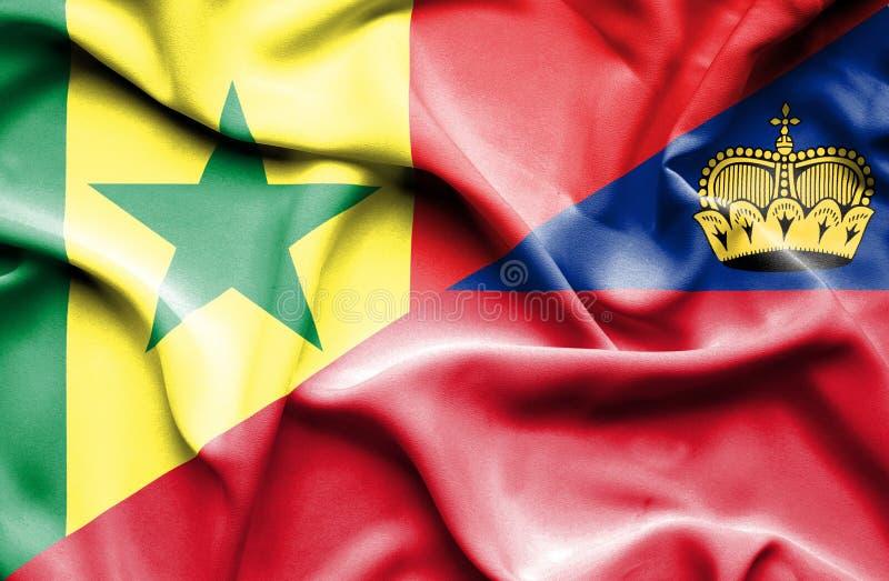 Bandeira de ondulação de Lichtenstein e de Senegal ilustração royalty free