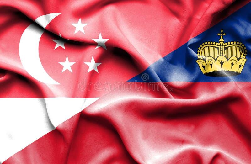 Bandeira de ondulação de Lichtenstein e de Singapura ilustração stock