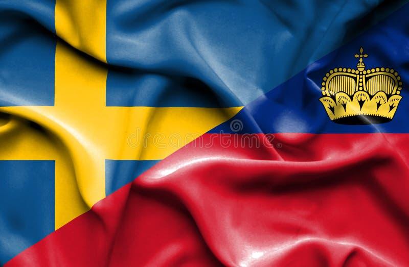 Bandeira de ondulação de Lichtenstein e de Suécia ilustração royalty free