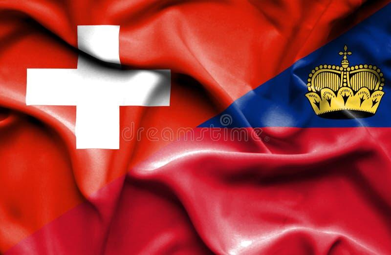 Bandeira de ondulação de Lichtenstein e de Suíça ilustração do vetor
