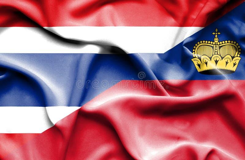 Bandeira de ondulação de Lichtenstein e de Tailândia ilustração stock