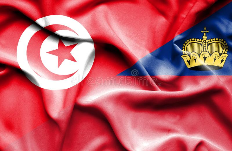 Bandeira de ondulação de Lichtenstein e de Tunísia ilustração do vetor