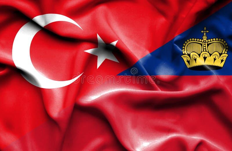 Bandeira de ondulação de Lichtenstein e de Turquia ilustração do vetor