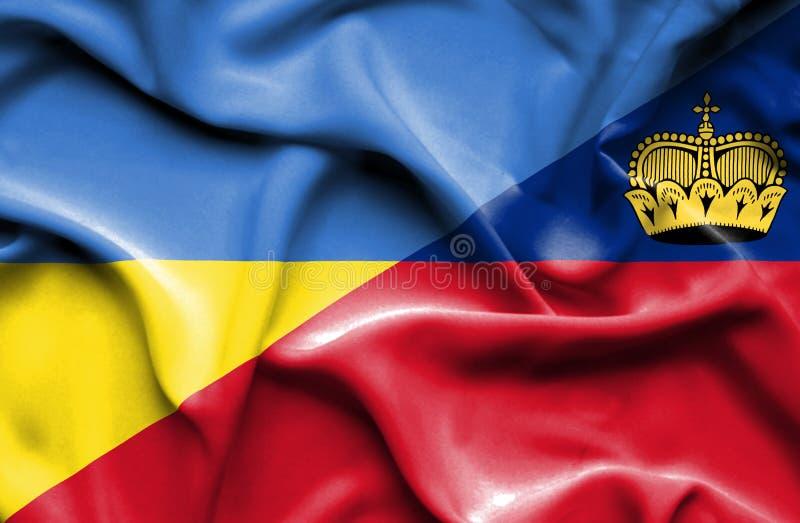Bandeira de ondulação de Lichtenstein e de Ucrânia ilustração do vetor