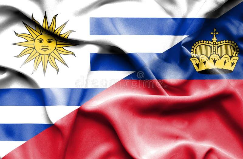 Bandeira de ondulação de Lichtenstein e de Uruguai ilustração do vetor