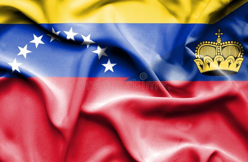 Bandeira de ondulação de Lichtenstein e de Venezuela ilustração royalty free