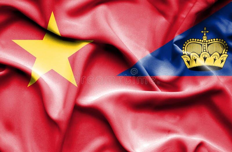 Bandeira de ondulação de Lichtenstein e de Vietname ilustração royalty free